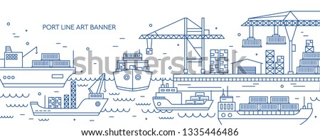 Horizontal banner with sea port, marine cargo terminal, freight vessels or ships carrying containers drawn with contour lines. Maritime transportation. Monochrome vector illustration in linear style.