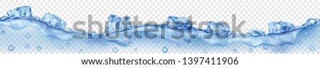 Horizontal banner with seamless wave. Translucent blue ice cubes and many air bubbles floating in water on transparent background. Transparency only in vector format