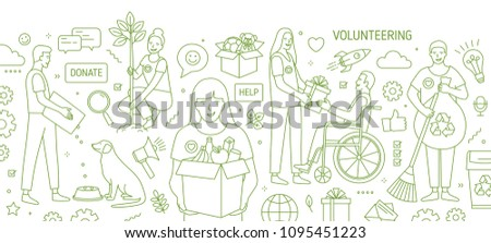 Horizontal banner with smiling young men and women volunteering or doing volunteer work drawn with green contour lines on white background. Monochrome vector illustration in modern lineart style
