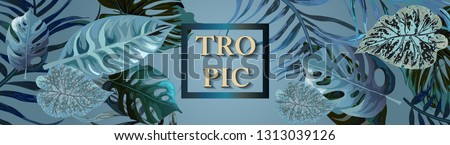 Horizontal banner with tropical blue leaves. Background with tropical leaves for beauty salons, spa salons, weddings. Background with tropical leaves for beauty salons, spa salons, weddings.