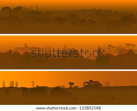 horizontal banners of valley in