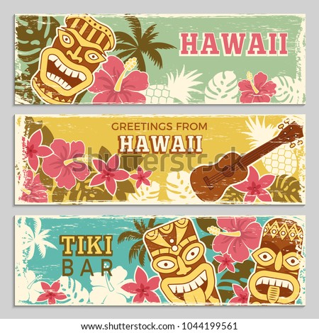 Horizontal banners set with illustrations of hawaiian tribal gods and other different symbols. Hawaiian summer party, banner with tiki and palm vector