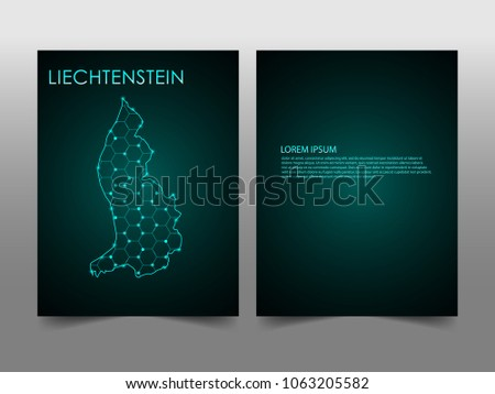 Horizontal banners template with Liechtenstein map sphere vector illustration. Abstract business card vector template with globe. Flyer or cover design. communication and network.