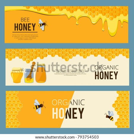 Horizontal banners with pictures set of apiary. Honey, waxing bee and beehive. Poster honey and apiary, beehive and dessert nutrition, vector illustration