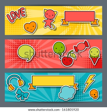 horizontal banners with sticker