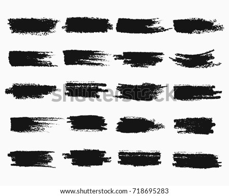 Horizontal black ink scratches or brush watercolor, brushstroke scribble or blob, paintbrush stroke or highlighter for stamp, trace of dye. Painted frame for highlighting theme