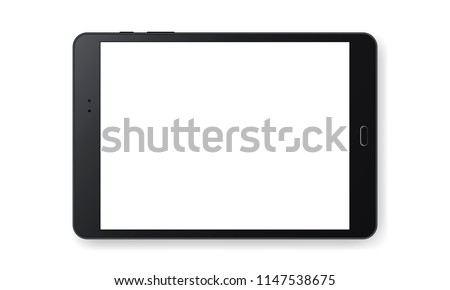 Horizontal black tablet computer mockup isolated on white background - front view. Vector illustration