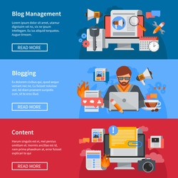 Horizontal blogging and blog management flat banners with blogger sharing content isolated vector illustration