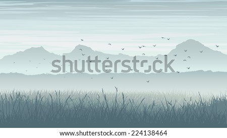 horizontal blue illustration of
