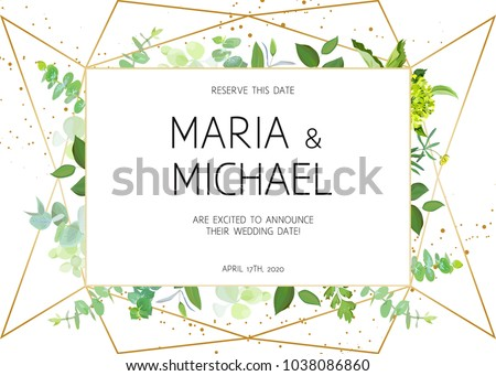 Horizontal botanical vector design frame. Baby blue eucalyptus, green hydrangea, wildflowers, various plants, leaves and herbs. Natural spring wedding card. Gold line art. All elements are isolated.