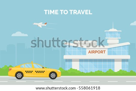 Horizontal cartoon banner with airport terminal taxi car and a plane taking off in the background a city skyline. Vector flat design illustration of modern airport building and taxi service transfer