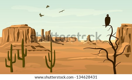Horizontal cartoon illustration of prairie wild west with cacti and birds of prey.