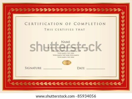Horizontal certificate of completion template with golden pattern and red frame This design usable for diploma invitation gift voucher coupon official ticket or different awards Vector