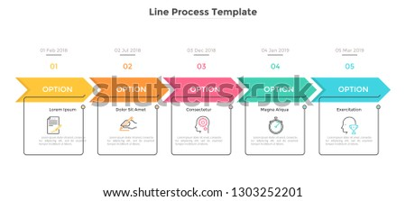 Horizontal chart with 5 rectangular elements, arrows and dates. Five milestones of company's development history. Simple infographic design template. Flat vector illustration for presentation, report.