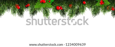 Horizontal Christmas border frame with fir branches, pine cones, berries. Vector illustration. #1234009639