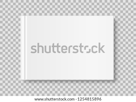 Horizontal closed book mock up isolated on transparent background. White blank cover. 3D realistic book, notepad, diary etc vector illustration