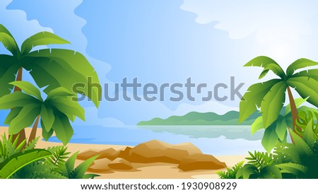 Horizontal colorful illustration of tropical scenery. Beach with palm trees on ocean and island background.