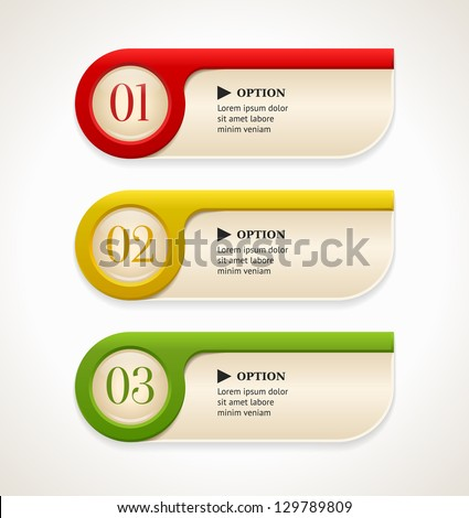 Horizontal colorful options banners/buttons template. Vector illustration