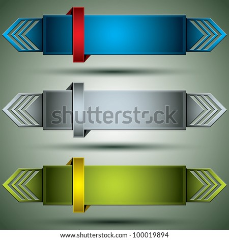 Horizontal 3d banners finished with arrows, set of color versions, vectors collection.