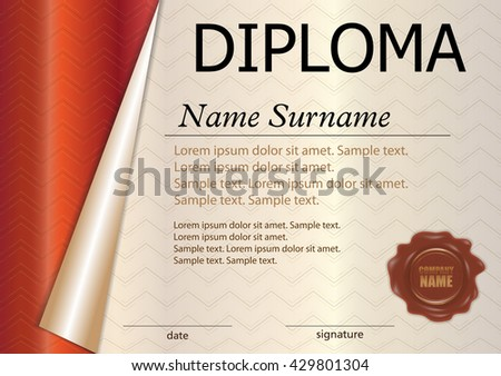 Premium brown certificate design template download free vector horizontal diploma or certificate template with wax seal red curled paper reward winning yelopaper Images