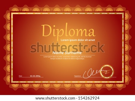 Horizontal diploma template with guilloche pattern and border