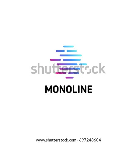 Horizontal dotted strips. Isolated line art logo template. Abstract linear logotype. Colorful geometric icon. Outline innovate design elements. Vector simple futuristic sign.
