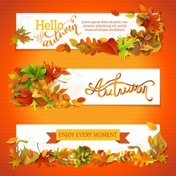 Horizontal fall banners set. Three vector templates. Bright autumn maple, oak, birch, elm, rowan, chestnut, aspen leaves and acorn. Hand-lettering elements. There is copy space for your text.
