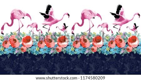 horizontal flamingo and flower border