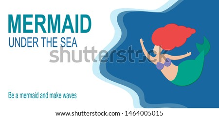 Horizontal greeeting invitation banner with cute little mermaid Ariel on a blue sea background with fish to the right. Beautiful nymph without a face swims in the ocean sea. Vector illustration.
