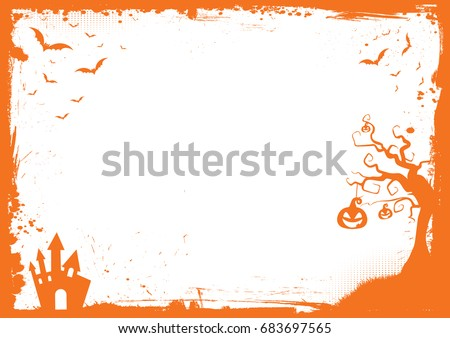 Horizontal Halloween orange element border and background template