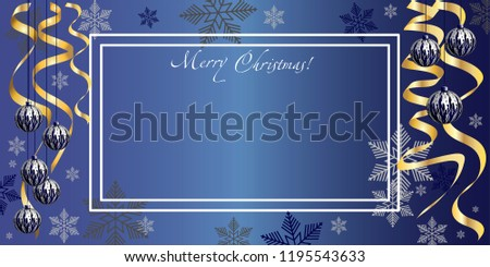 Horizontal holiday illustration, congratulation on Christmas. Christmas decoration and congratulations with Christmas balls and snowflakes. Christmas card. New Year's art.