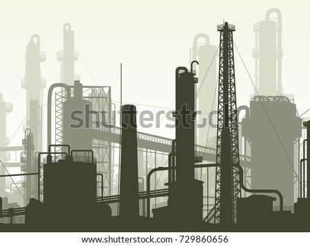 Horizontal illustration industrial part of city with factories, refineries and power plants.