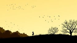 Horizontal illustration landscape with silhouette of lonely girl in field windswept.