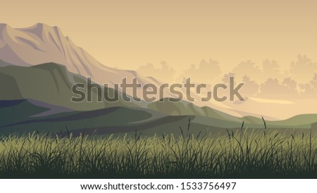 Horizontal illustration of grass field with hills and mountains in the evening. ストックフォト ©