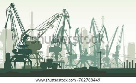 Horizontal illustration of industrial area with port and cargo crane tower, factories.