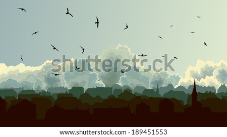 stock-vector-horizontal-illustration-old-historic-european-city-on-background-of-cloudy-sky