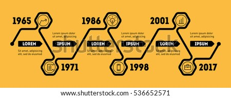 Horizontal Infographic timeline. Vector web template for presentation. Time line of Social tendencies and trends graph. Business concept with options, parts, steps or technology processes.