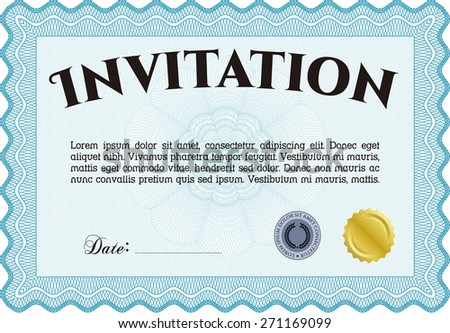 Horizontal invitation template with sample text