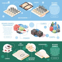 Horizontal isometric banners with different board games and equipment for playing 3d isolated vector illustration