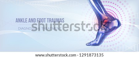 Horizontal light blue banner with ankle and foot joints traumas concept. For advertising, medical publications in social media. Realistic bones of foot skeleton of human leg. Vector illustration stock