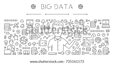 Horizontal line banner for big data. Vector linear web concept for database.