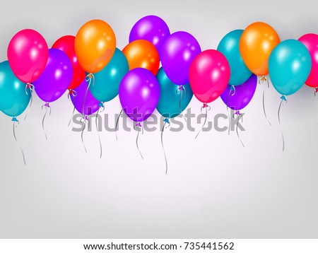Horizontal line, border of shiny colorful balloons, party banner, poster,  greeting card