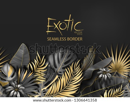 Horizontal line floral seamless pattern made with gold and black leaves of tropical plants on dark gray background. Tropic rain forest foliage border. Vector illustration.