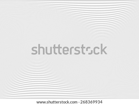 Horizontal lines / stripes pattern or background with wavy, curving distortion effect. Bending, warped lines. Light gray version.
