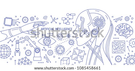 Horizontal monochrome banner with robot, robotic arm, integrated circuits, hi-tech devices drawn with contour lines on white background. Artificial intelligence. Vector illustration in lineart style