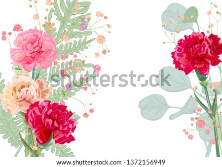 0da9d1532e61d Horizontal Mother's Day card with carnation: pale, red, pink, flowers, twigs