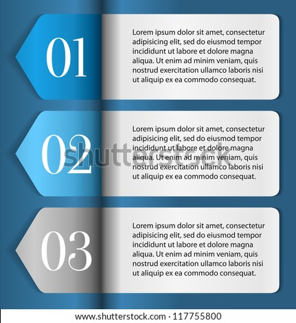 Horizontal One, Two, Three progress labels with arrows on blue background, vector