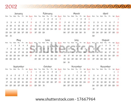 horizontal oriented calendar grid of 2012 year with decorated font and ornament. Monday is first day of week