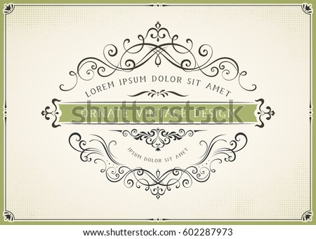 Horizontal ornate vintage template with typographic design on the halftone background. Can be used for retro invitations, greeting cards and royal certificates. Vector illustration.