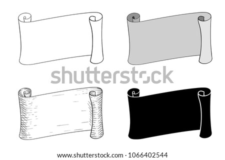 Horizontal paper scrolls. Vector illustration isolated on white background